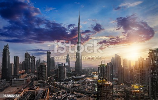 512697874 istock photo Sunrise over Downtown Dubai 915806434