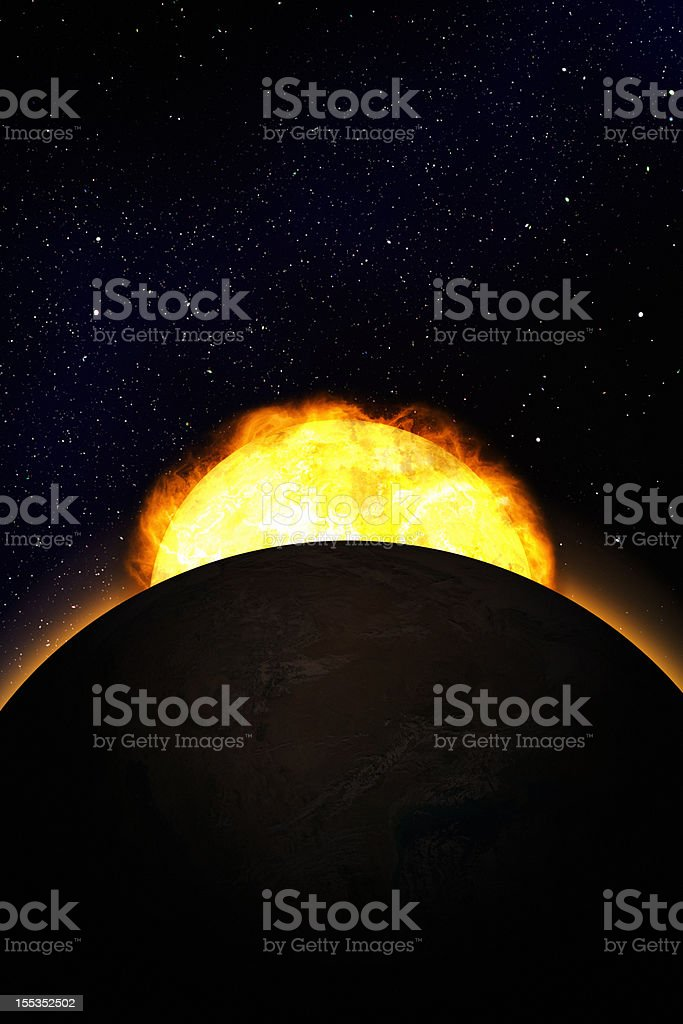Sunrise over earth stock photo