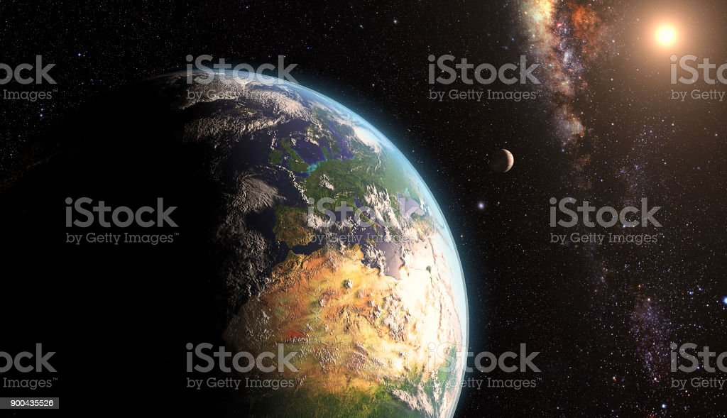 Sunrise over earth with moon stock photo
