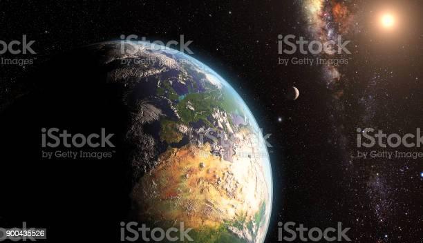 Salida Del Sol Sobre La Tierra Con La Luna Foto de stock y más banco de imágenes de Astronomía