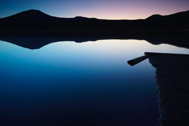 Sunrise over Elk Lake in the Oregon North Cascade Lakes stock photo