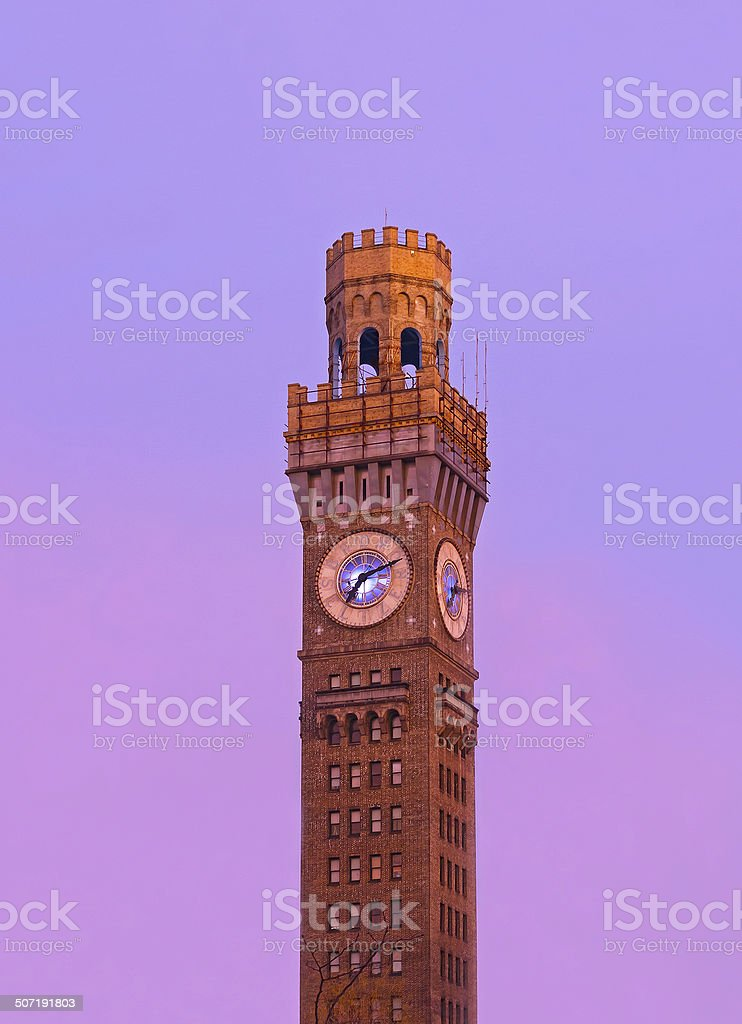 Sunrise over Emerson Bromo-Seltzer Tower in the winter. royalty-free stock photo