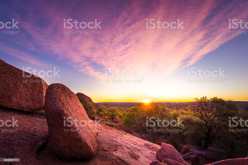 Sunrise Over Enchanted Rock State Park, TX stock photo