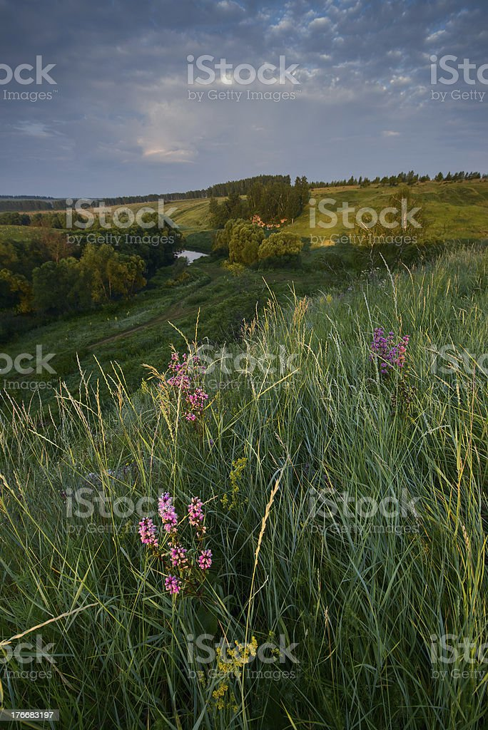 Sunrise over fields and river royalty-free stock photo