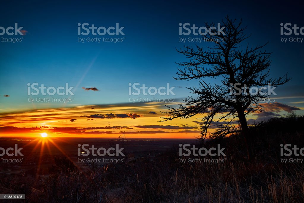 Sunrise over Fort Collins stock photo