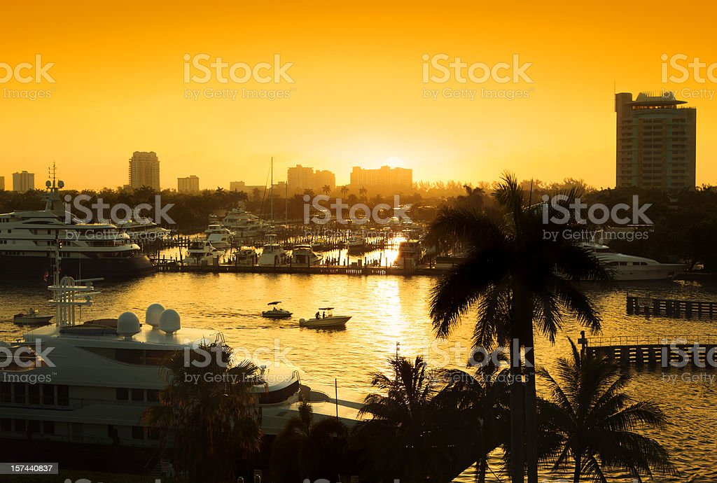 Sunrise Over Fort Lauderdale stock photo