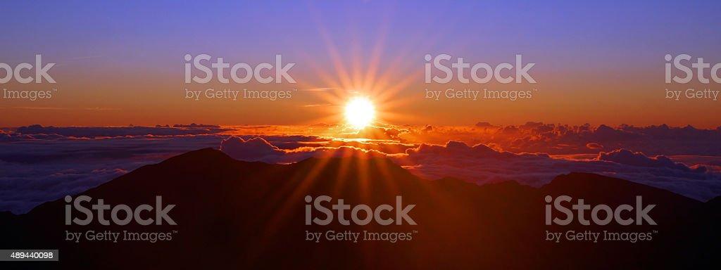 Sunrise over Haleakala National Park stock photo