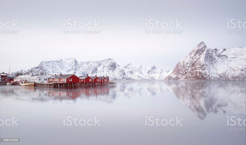 Sunrise over Hamnoy, Norway stock photo