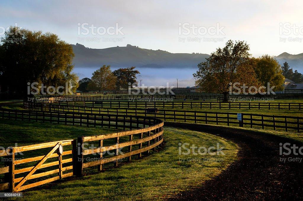 Sunrise over horse paddocks royalty-free stock photo