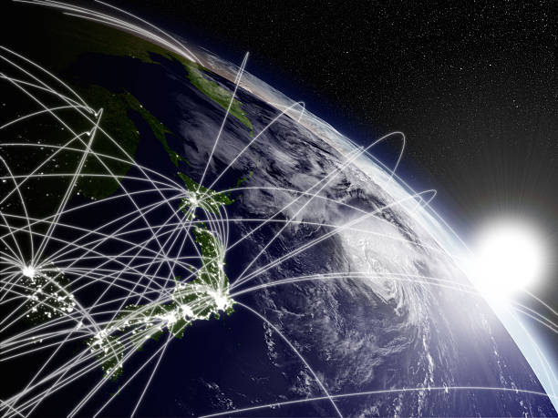日の出日本にネットワーク ストックフォト