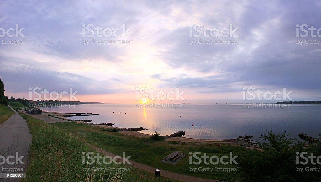 Sunrise over Kattegat strait in Fredericia city, Denmark stock photo