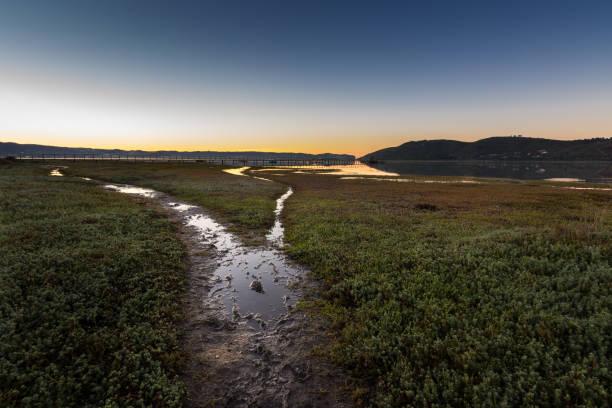 Sunrise over lagoon in Knysna, South Africa stock photo