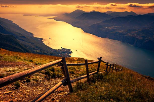 sunrise over Lake Garda in Italy stock photo