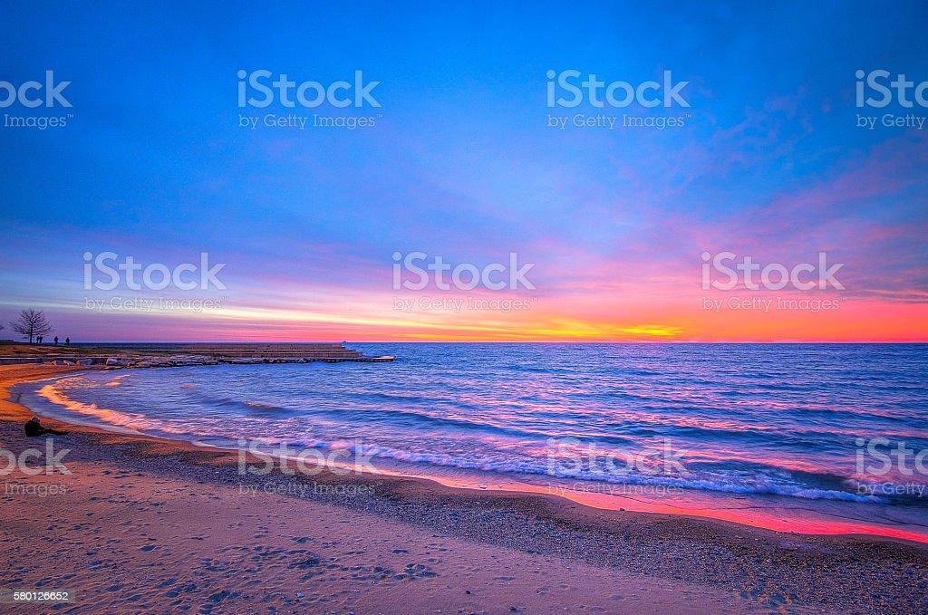 Sunrise over Lake Michigan stock photo