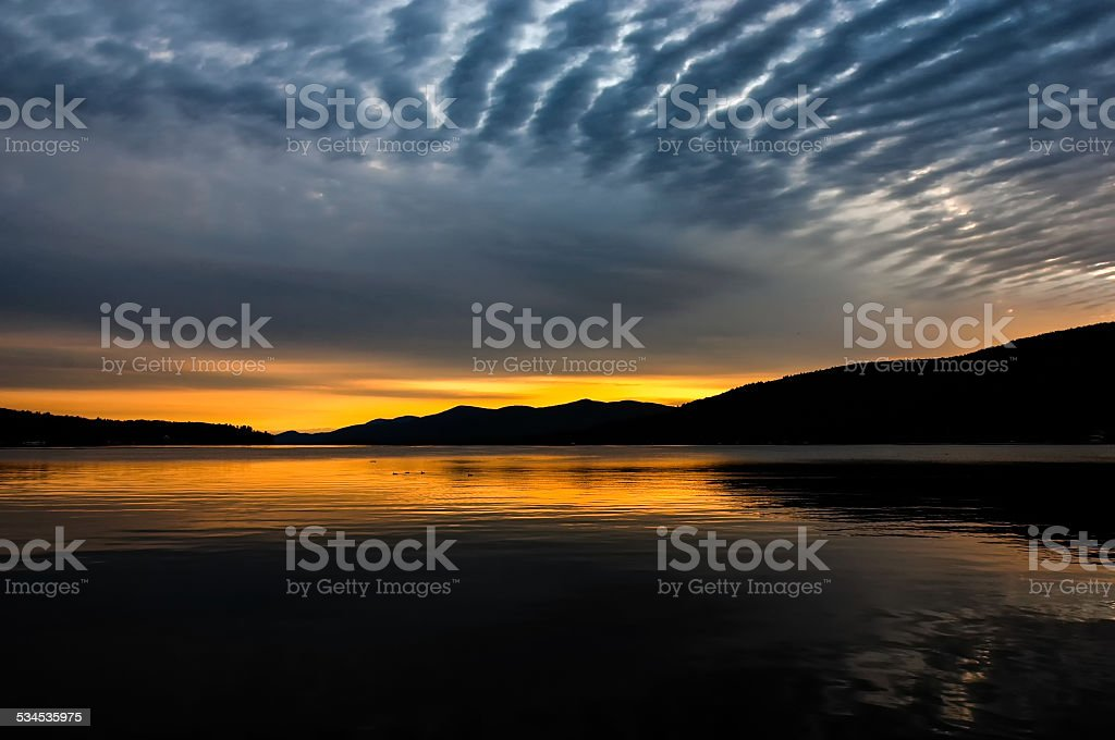 Sunrise Over Lake stock photo