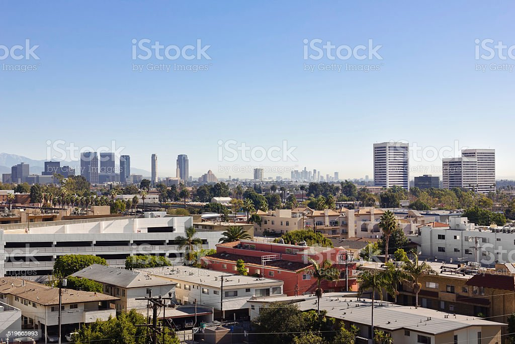 Sunrise over Los Angeles stock photo