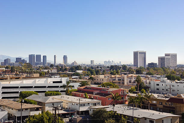 Sunrise over Los Angeles View of West LA, Century City, and downtown Los Angeles in the distant background. westwood neighborhood los angeles stock pictures, royalty-free photos & images