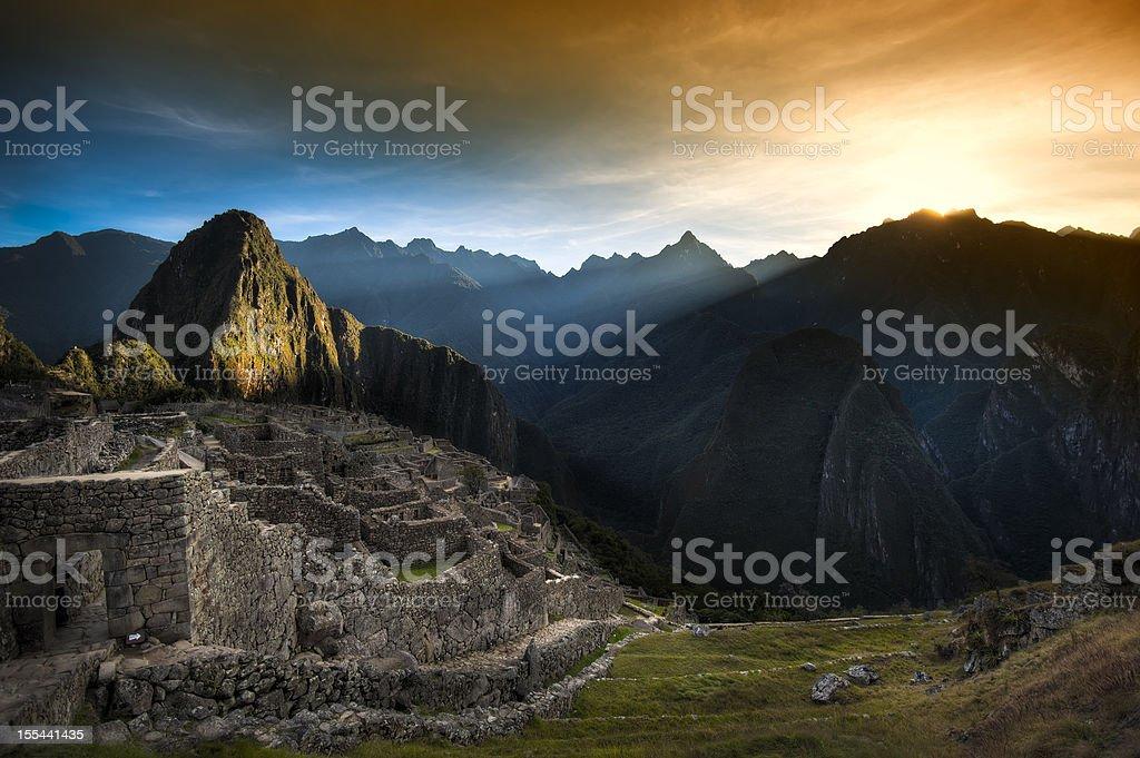 Sunrise over Machu Picchu stock photo