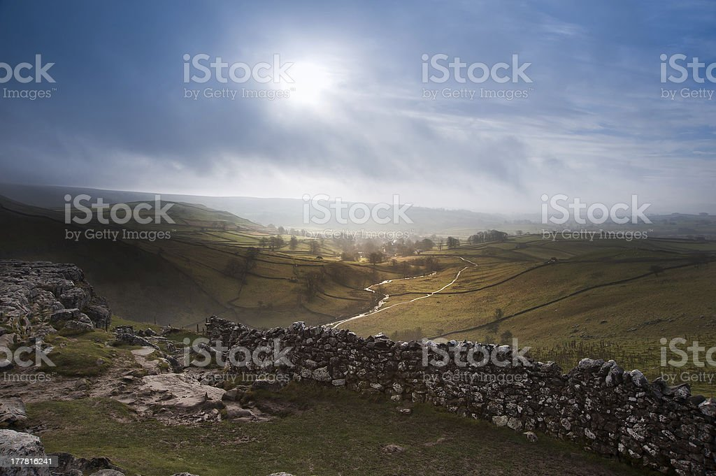 Sunrise over Malham Cove in Yorkshire Dales National Park stock photo