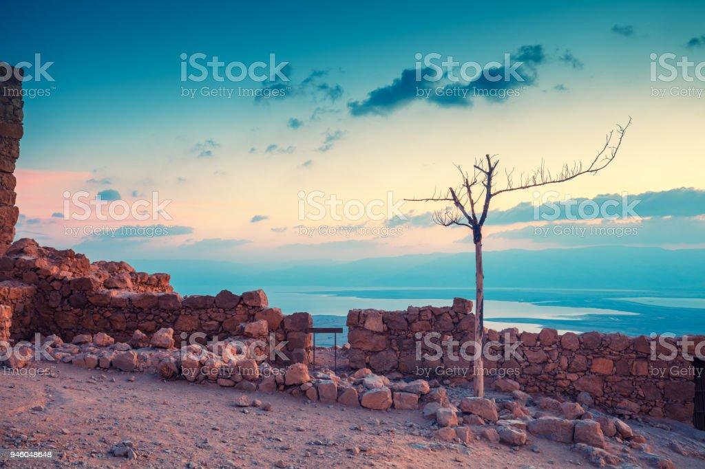Sunrise over Masada fortress. Israel stock photo