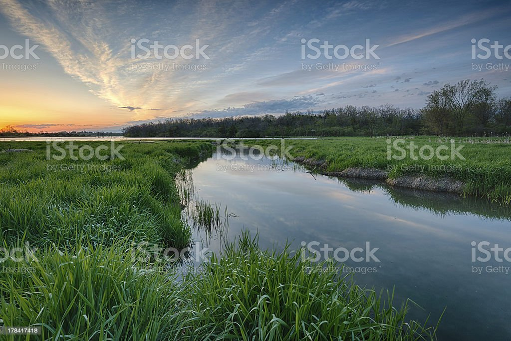 Sunrise over Midwest Creek stock photo
