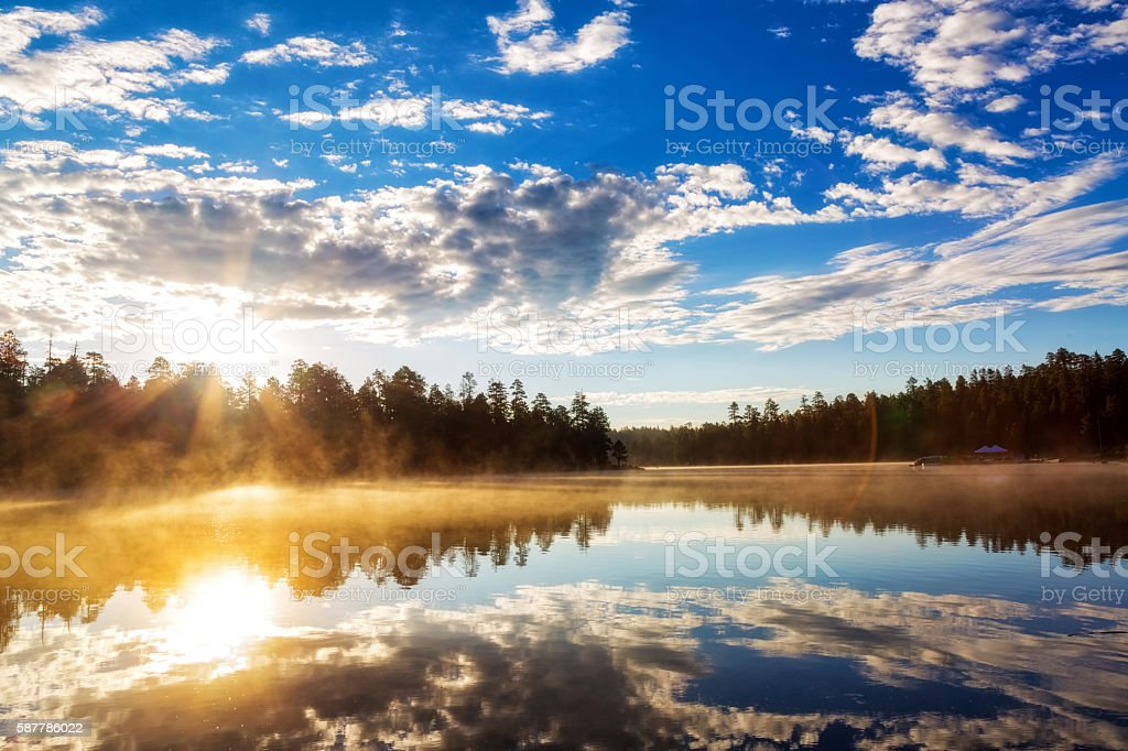 Sunrise Over Misty Lake in Payson Arizona stock photo
