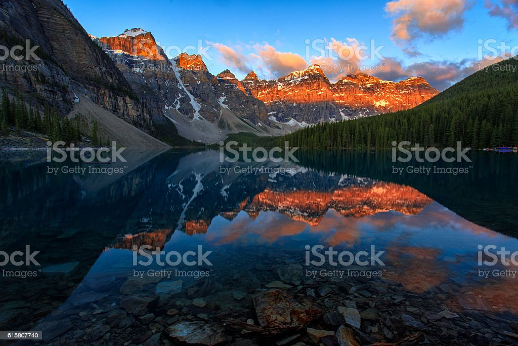 Sunrise over Moraine Lake stock photo