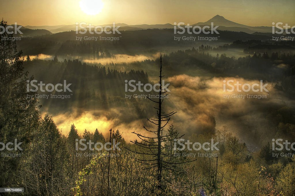Sunrise Over Mount Hood One Foggy Morning 2 royalty-free stock photo