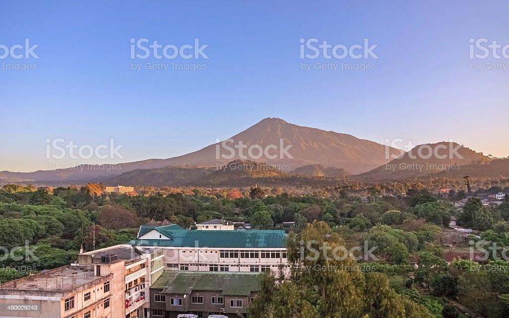 Sunrise over Mount Meru. Arusha, Tanzania. stock photo