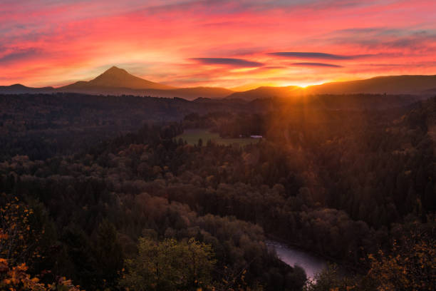 sunrise over Mt Hood and the Sandy River Valley, Oregon, Pacific Northwest United States stock photo