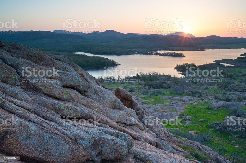 Sunrise Over Mt. Scott, From Little Baldy, Wichita Mountain, Oklahoma stock photo