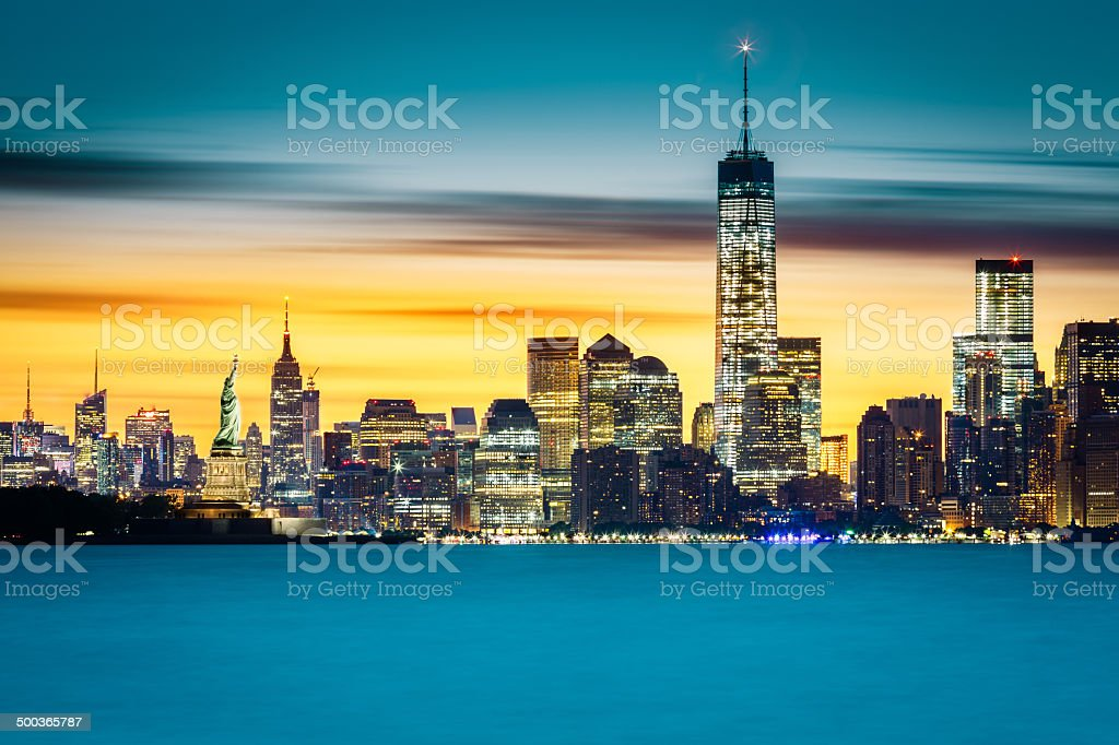 Sunrise over New York City stock photo
