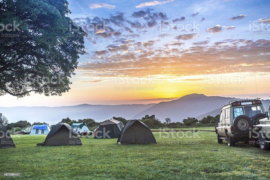 Sunrise over Ngorongoro Crater Campsite stock photo