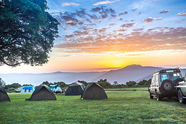 Sunrise over Ngorongoro Crater Campsite stock photo