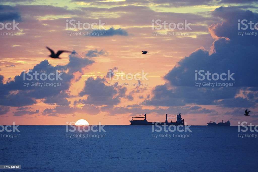 Sunrise over ocean, at Miami Beach royalty-free stock photo