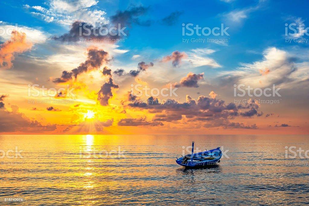 Sunrise over ocean stock photo