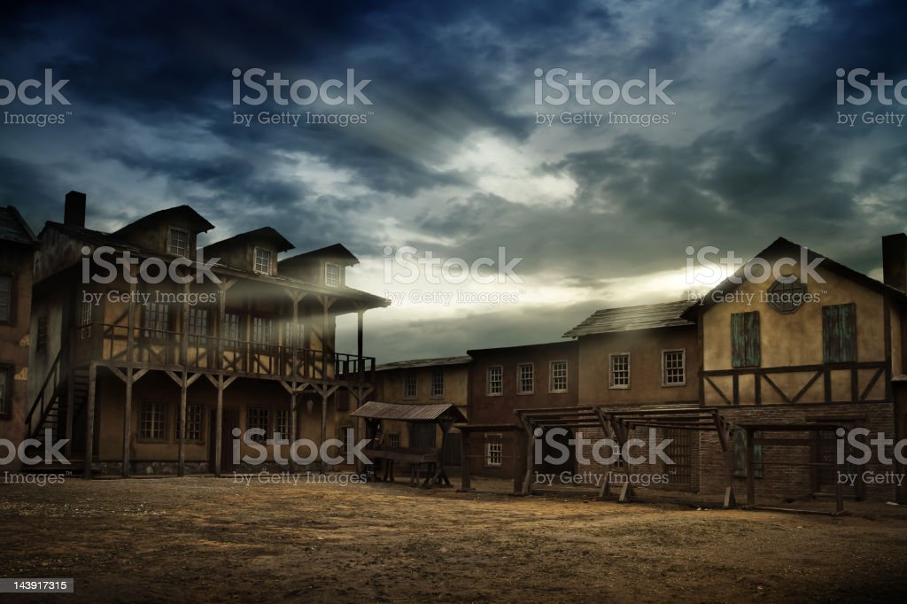 Sunrise over old town royalty-free stock photo