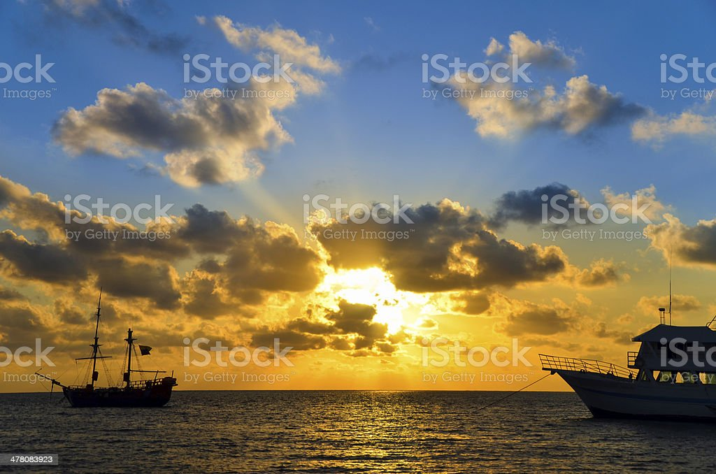 Sunrise over Pirate Ship stock photo