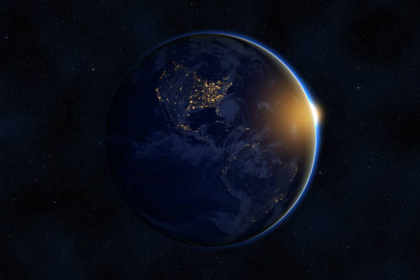 Sunrise over planet Earth against dark starry sky background, elements of this image furnished by NASA stock photo