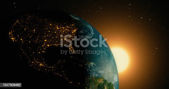 Sunrise over planet earth from space with galaxy star