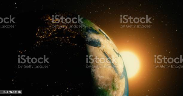 Photo of Sunrise over planet earth from space with galaxy star