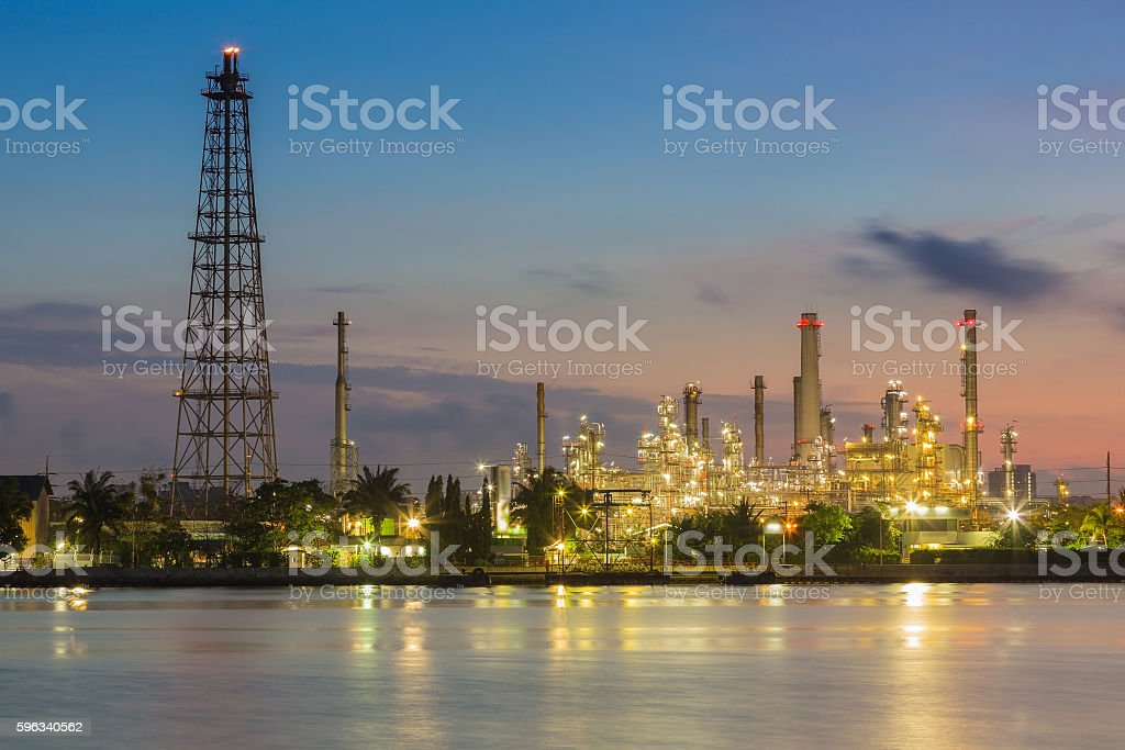Sunrise over preto chemical refinery royalty-free stock photo