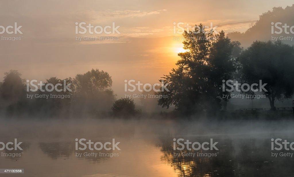 Sunrise over river bank in Tyniec, Krakow stock photo