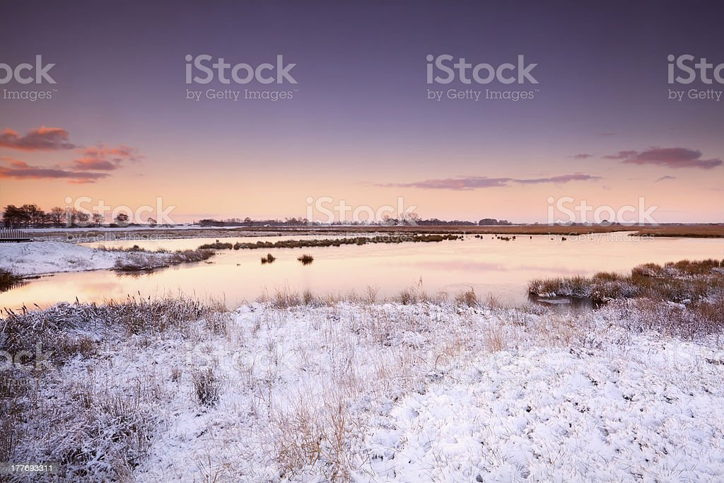 sunrise over river in winter royalty-free stock photo