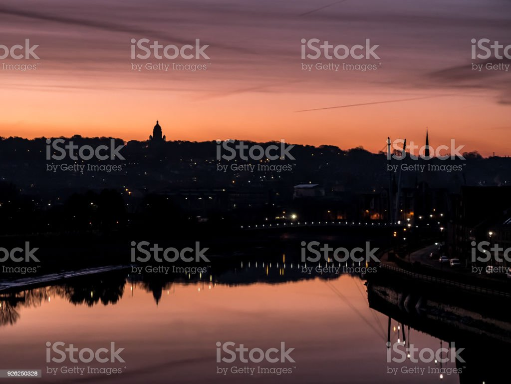 Sunrise over River Lune Lancaster UK stock photo