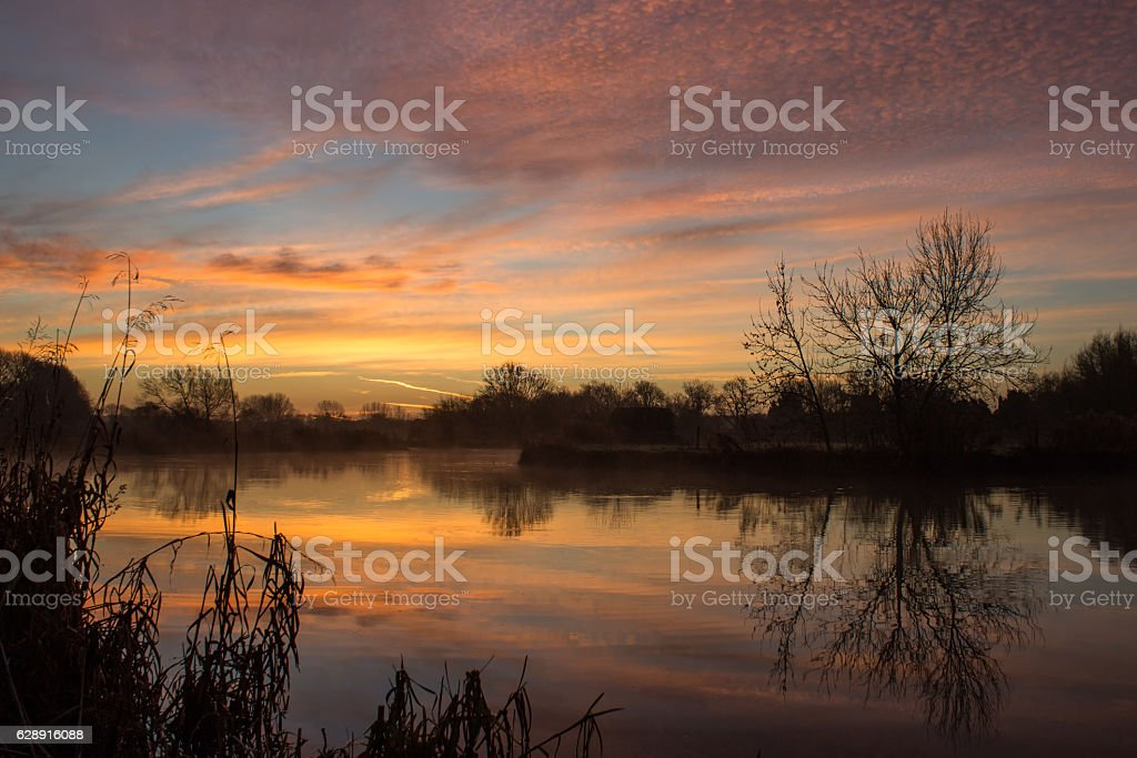 Sunrise over River Thames stock photo