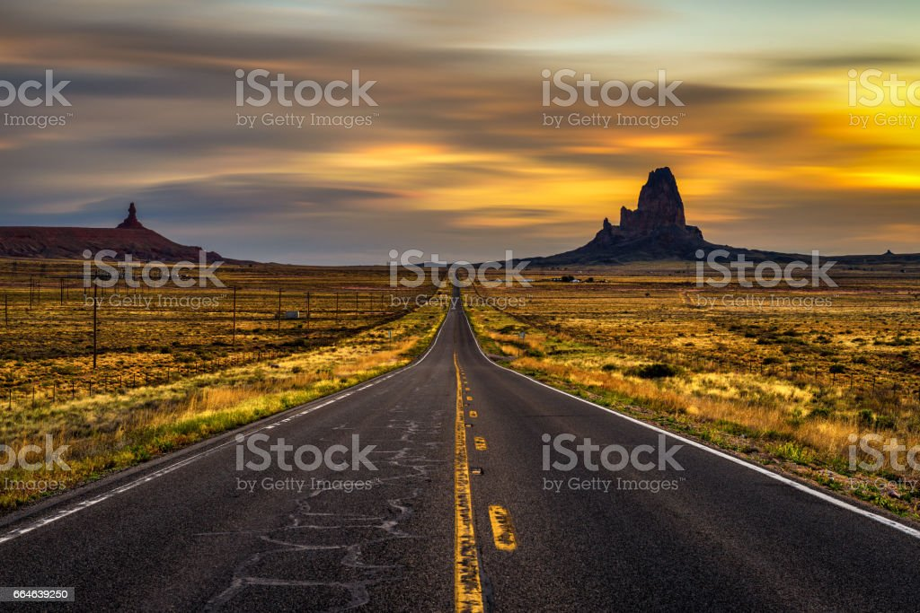 Sunrise over road to Monument Valley, Utah, USA stock photo