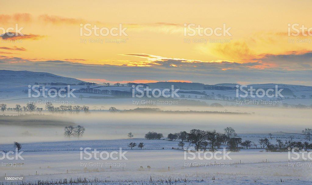 Sunrise over snow covered fields stock photo