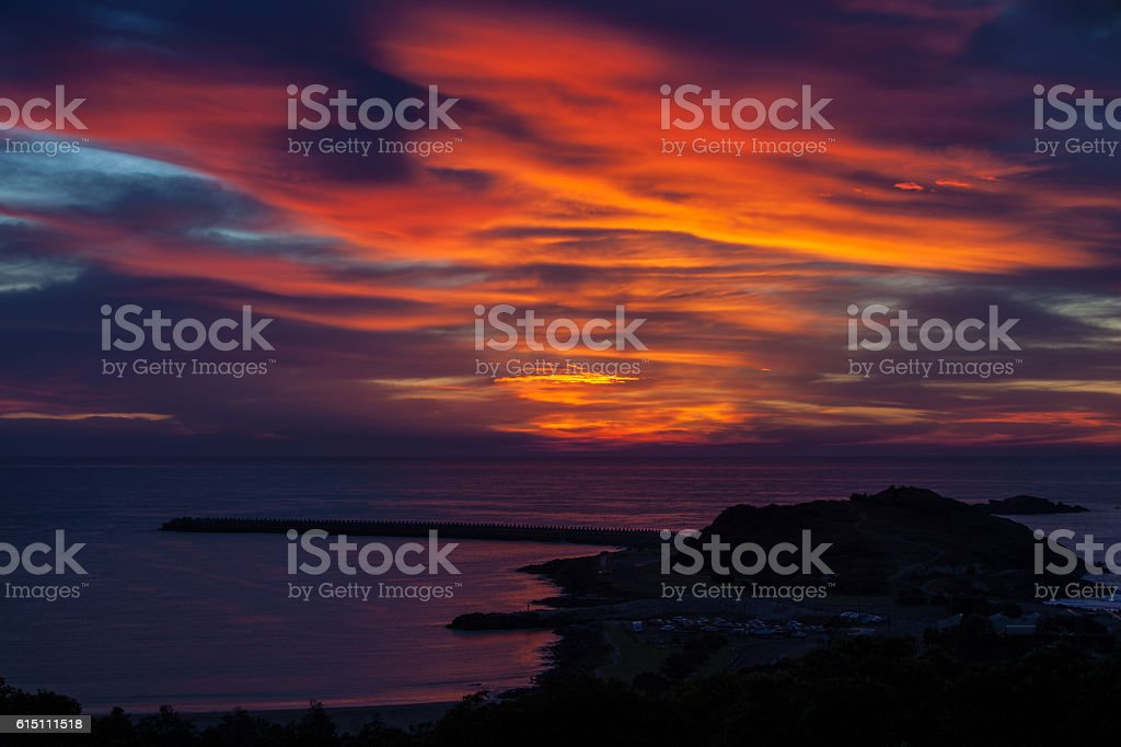 Sunrise Over South Wall Coffs Harbour stock photo