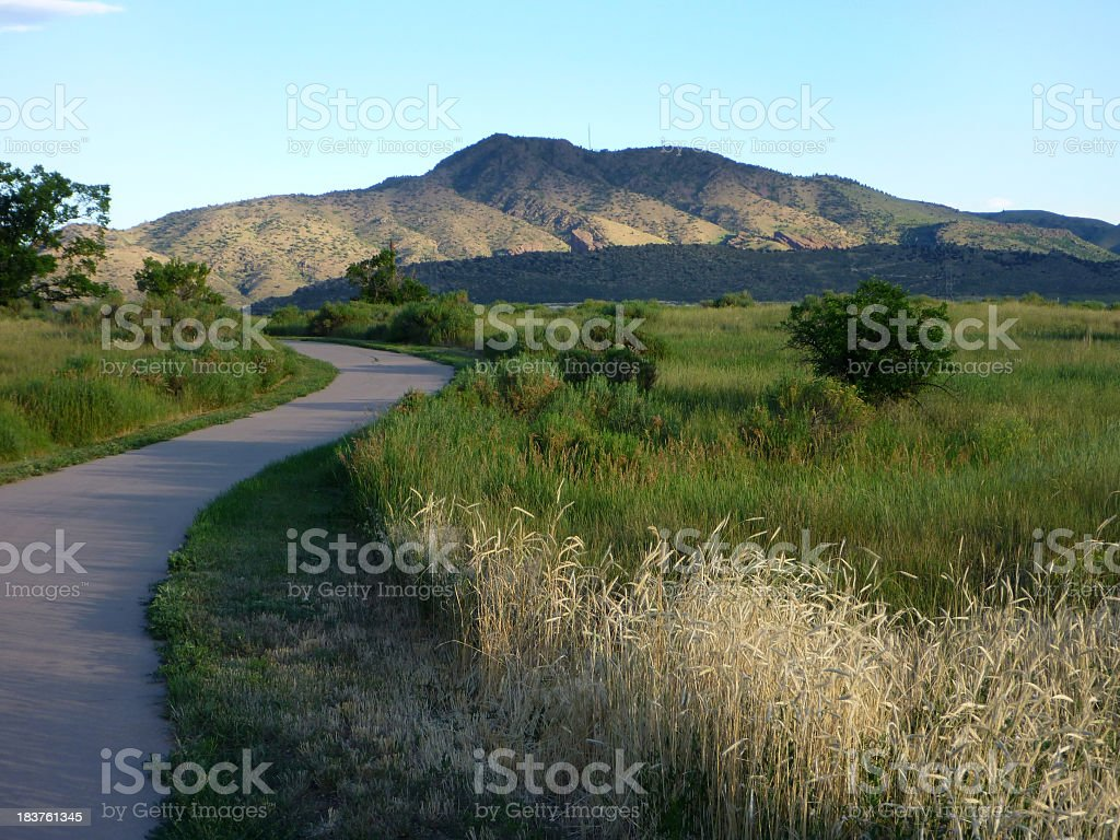 Sunrise over state park grasslands and foothills Colorado stock photo